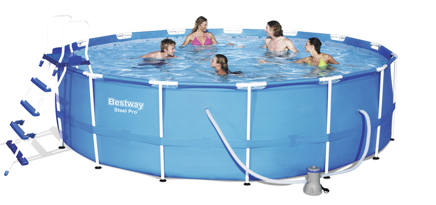 Piscina tonda con telaio 457xh122 cm scaletta icofer for Bestway piscine catalogo